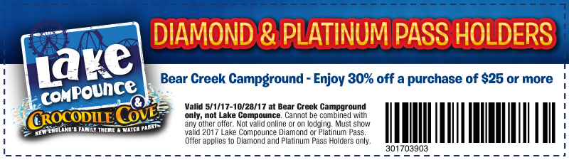 For Lake Compounce we currently have 3 coupons and 0 deals. Our users can save with our coupons on average about $ Todays best offer is Platinum Pass for $ If you can't find a coupon or a deal for you product then sign up for alerts and you will get updates on every new coupon added for Lake Compounce.