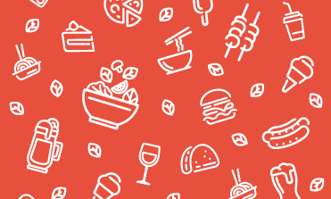 Outline art of various food and drink on red background