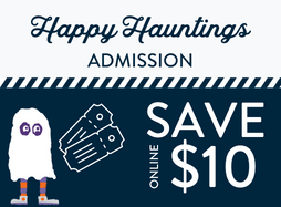 """Cartoon ghost with a pair of tickets on navy background with """"Save $10 online"""" text"""