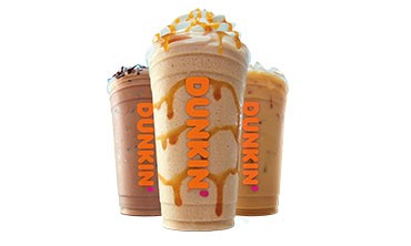 Three iced coffee drinks from Dunkin' on a white background