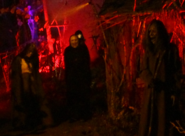 zombies and ghouls in forest at haunted graveyard