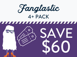"""Cartoon ghouligan on purple background with """"fangtastic 4+pack, save $60"""" text"""
