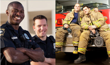 firefighters and police officers smiling