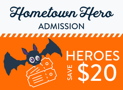 """Cartoon bat holding a pair of tickets on an orange background with """"heroes save $20"""" text"""