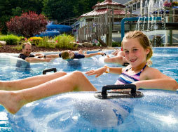 girl on float in lazy river