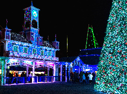 the glockenspiel at Lake Compounce lit in christmas lights
