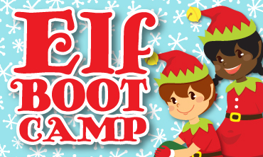 Elf Bootcamp type with two animated elves smiling