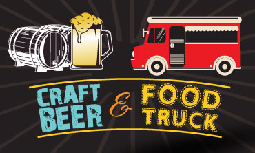 Illustrated graphic of a beer mug and food truck with