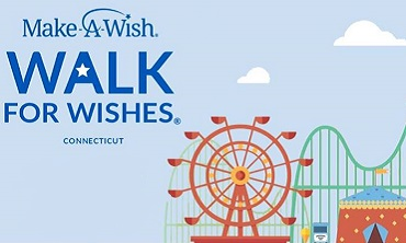 Make a Wish logo on light blue background with illustrations of a Ferris Wheel, roller coaster, carousel, and tent