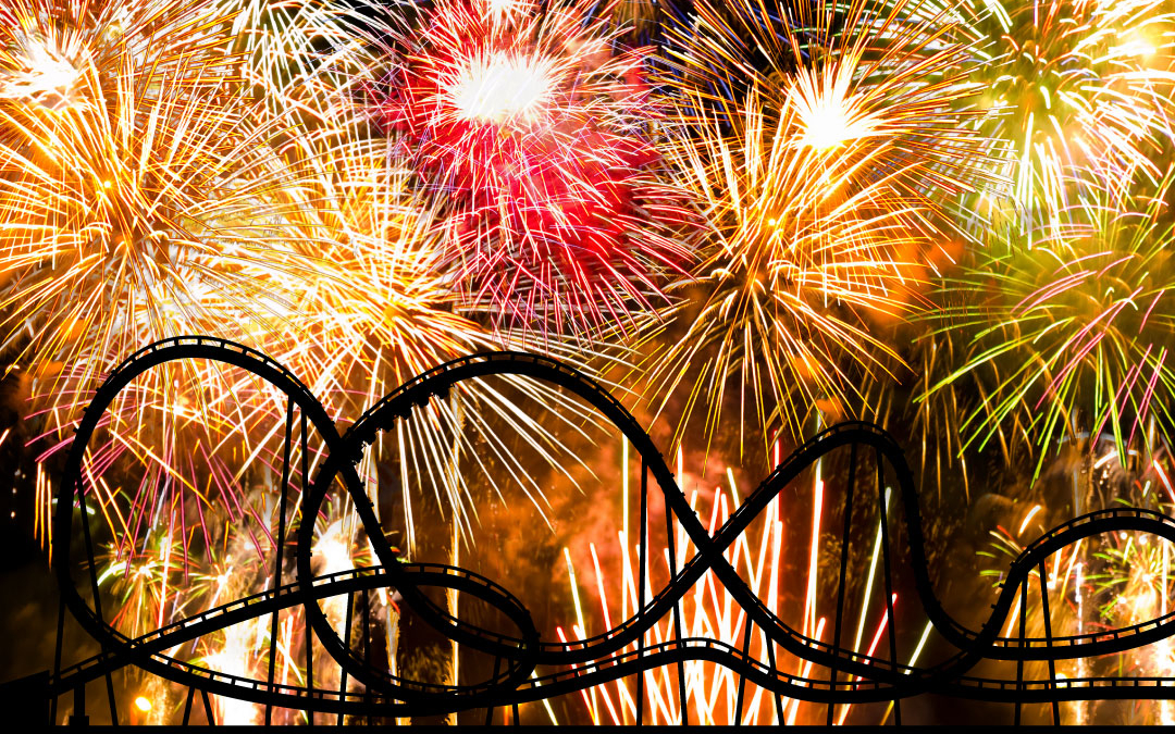 Fireworks with rollercoaster silhouette