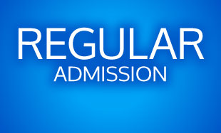 Regular Admission Text on Blue Background