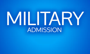 """""""Military Admisson"""" text on blue background"""