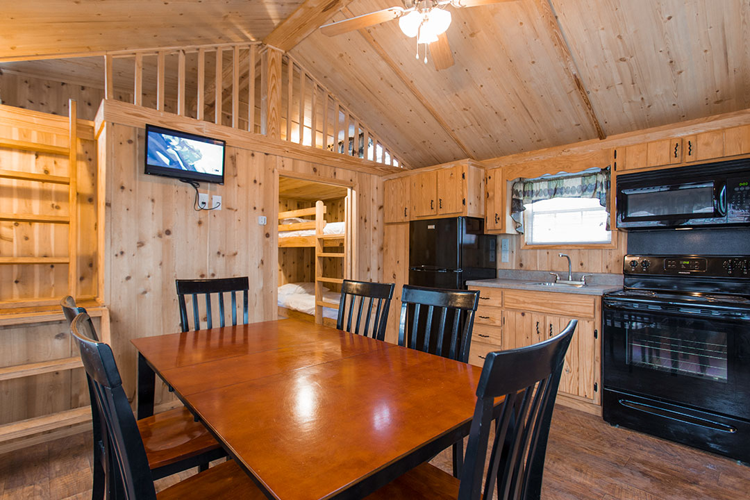 Cabin kitchen and dining room
