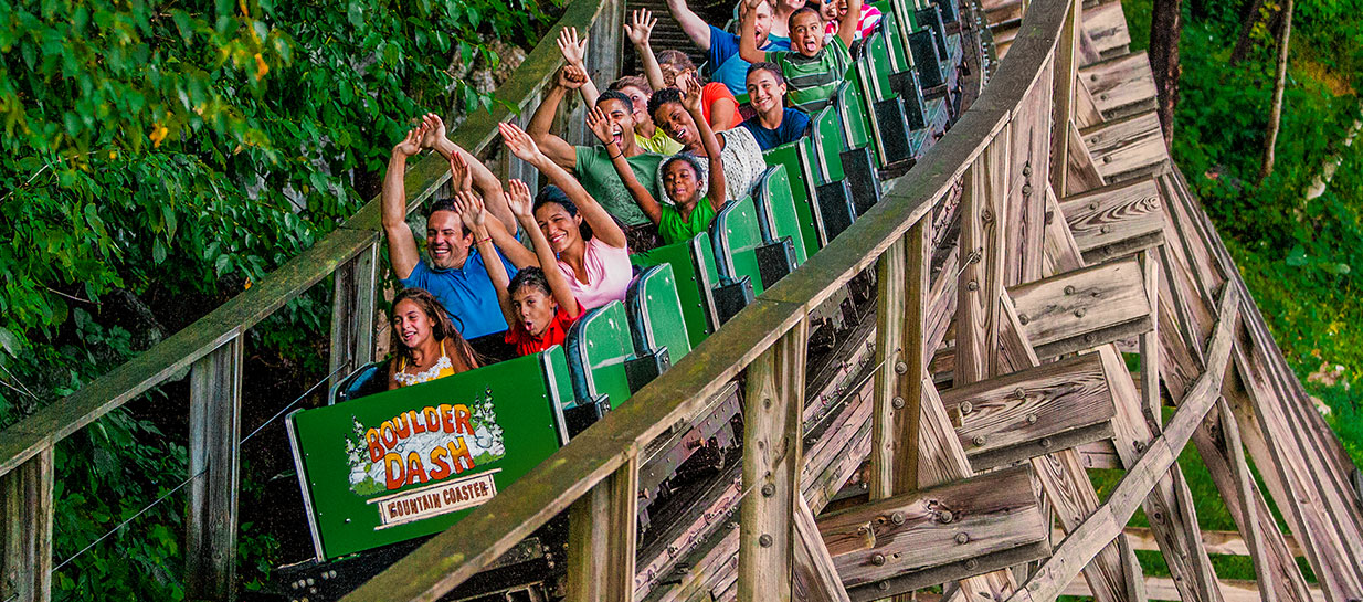 Riders feeling thrills on classic wooden coaster