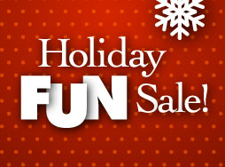 """Holiday Fun Sale"" text on a red and white polka dot background"